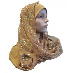 Mustard 1 piece hijab scarf with patterns