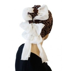 Chic brown and off-white beanie 1 piece decorated with bows at the back