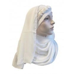 1 piece white hijab scarf with beige decoration