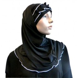 2-piece black hijab with white gathered ribbon