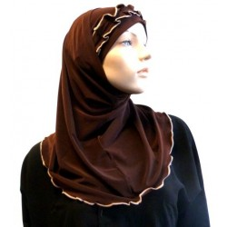2 pieces chocolate brown hijab with taupe gathered ribbon