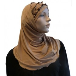 2-piece camel hijab with dark brown gathered ribbon