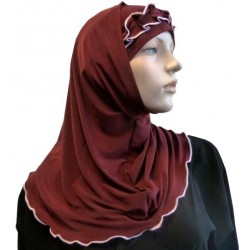 2-piece burgundy hijab with pink gathered ribbon