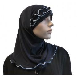 2-piece navy blue hijab with sky blue gathered ribbon