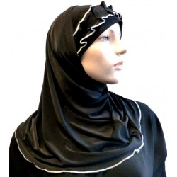 2-piece black hijab with gray gathered ribbon
