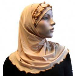 2-piece beige hijab with caramel gathered ribbon