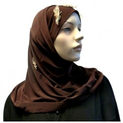 Brown 2-piece hijab with floral patterns