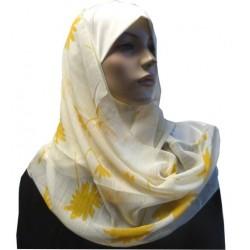 Off-white 1 piece hijab scarf