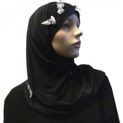 2-piece black hijab with flower patterns