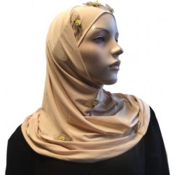 2-piece beige hijab with floral patterns