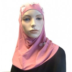 2-piece pink hijab with floral patterns