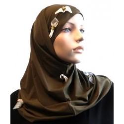 2-piece khaki hijab decorated with flowers