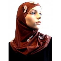 2 pieces brown hijab decorated with flowers