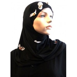 2-piece black hijab decorated with flowers