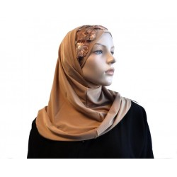 2-piece camel-colored hijab decorated with flowers