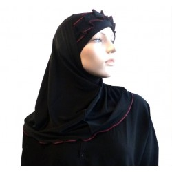 2-piece hijab (tube cap) black with burgundy gathered ribbon