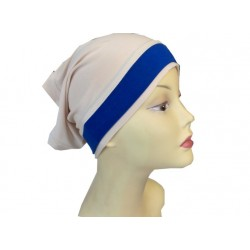 Dressed beige tube cap with a blue band