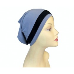Light blue dressy tube cap with black band