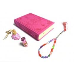 Pack cadeau pour femmes : Coran similicuir luxe rose, Diffuseur de parfums, parfum Musc...