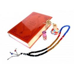 Pack cadeau pour femmes : Coran similicuir luxe de couleur rouge bordeaux - Diffuseur...