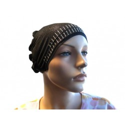 Glittery black beanie with cap at the back