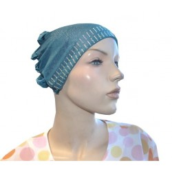 Glittery Prussian blue beanie with cap at the back