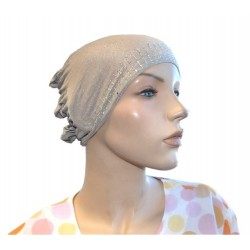 Glittery light gray beanie with cap at the back
