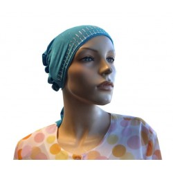 Turquoise blue beanie with cap at the back