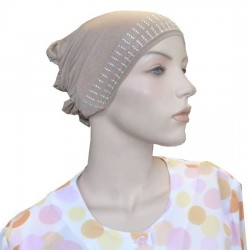 Glittery taupe beanie with cap at the back