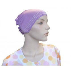 Glitter mauve hat with cap at the back