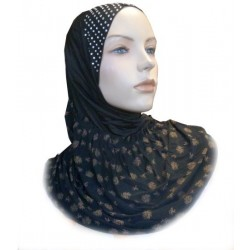 1 piece black pearl hijab at the top with copper patterns