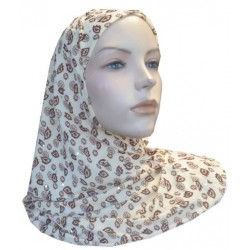 Glittery beige 1-piece hijab with brown patterns