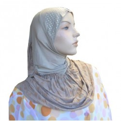 1 piece taupe hijab beaded on the cap with copper patterns