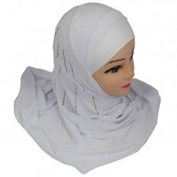 Glittery white 1-piece hijab with multi-colored rhinestones