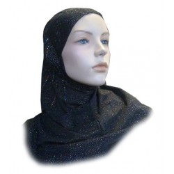 1 piece black glitter hijab with multi-colored rhinestones