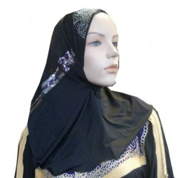Beaded black hijab at the top with multicolored patterns