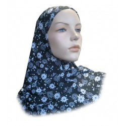 Glittery black 1-piece hijab with white flower patterns