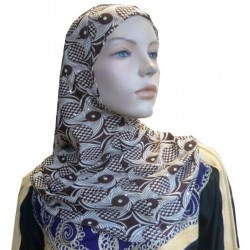 Glittery beige hijab with brown patterns