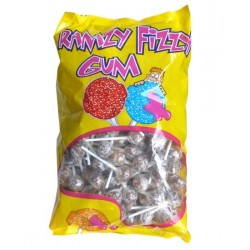 Bag of 200 Ramzy Fizzy chewing gum lollipops with cola flavor (Tongue task)