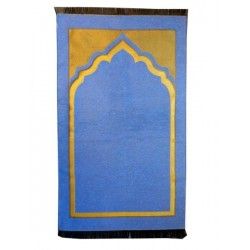Prayer mat thin and easy to transport, one place, solid blue color with gold part