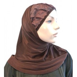 2-piece dark brown hijab with brown lace cap