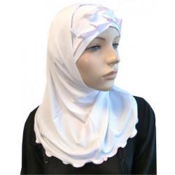 2-piece white hijab with light pink gathered ribbon
