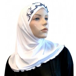 2-piece white hijab with black gathered ribbon