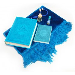 Turquoise Blue Gift Pack: The Luxury Holy Quran in Suede (Arabic-French-phonetic), The...