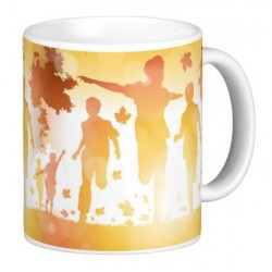 Joyful children mug to wake up in the morning with joy and good humor