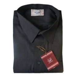 Qamis Al-Othaiman with shirt collar and pants - Black - Size 56 (L)