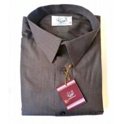 Qamis Al-Othaiman with shirt collar and pants - Brown - Size 60 (XXL)
