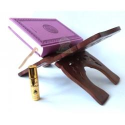 Pack Cadeau constitué d'un Coran arabe couverture similicuir de luxe (mauve) + Porte...