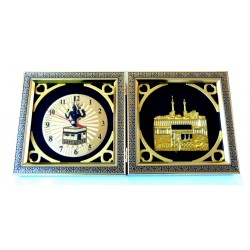 Golden Islamic Picture Clock in Two Parts