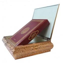 Coffret de luxe doré avec Le Saint Coran en arabe (Lecture Hafs)